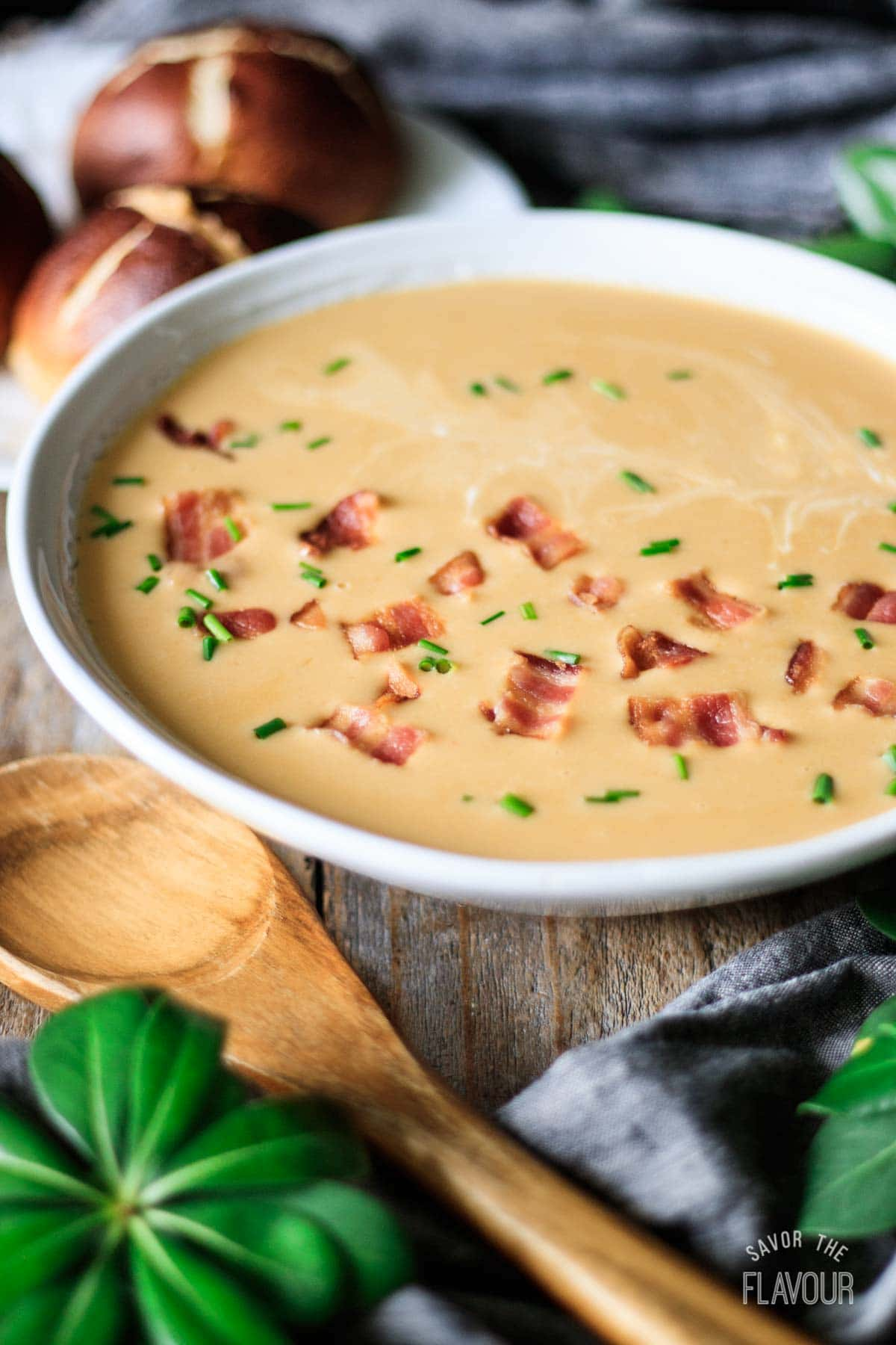 bowl of beer cheese soup with bacon