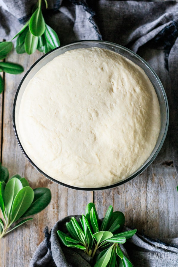 bowl of risen bread dough