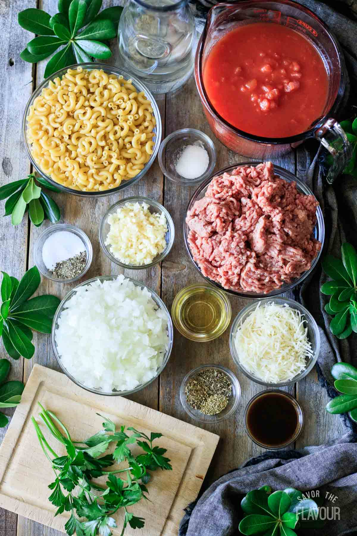 ingredients for American goulash