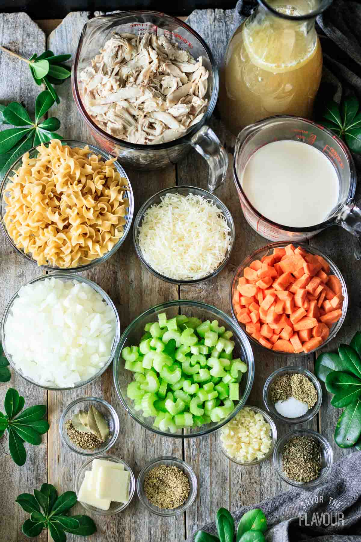 ingredients for creamy chicken noodle soup