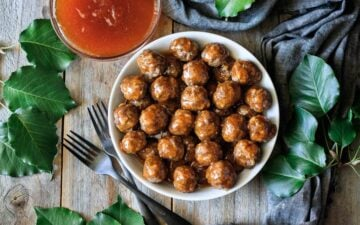 bowl of Hawaiian meatballs with apricot sauce