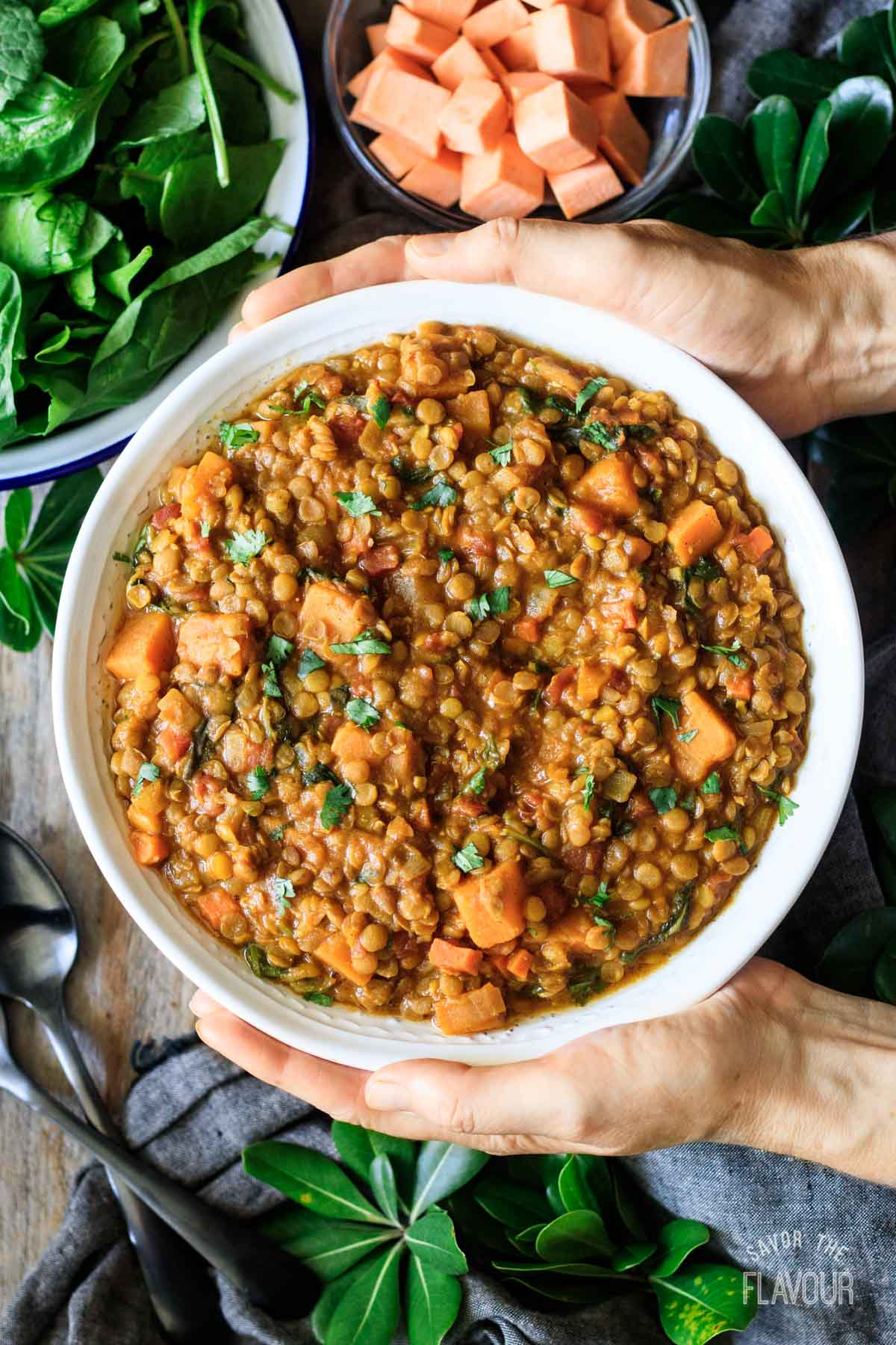 person holding a bowl of Moroccan lentil stew