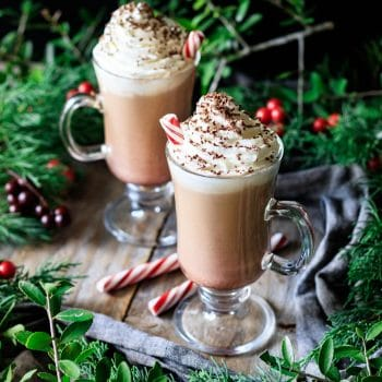 two glasses of peppermint mocha