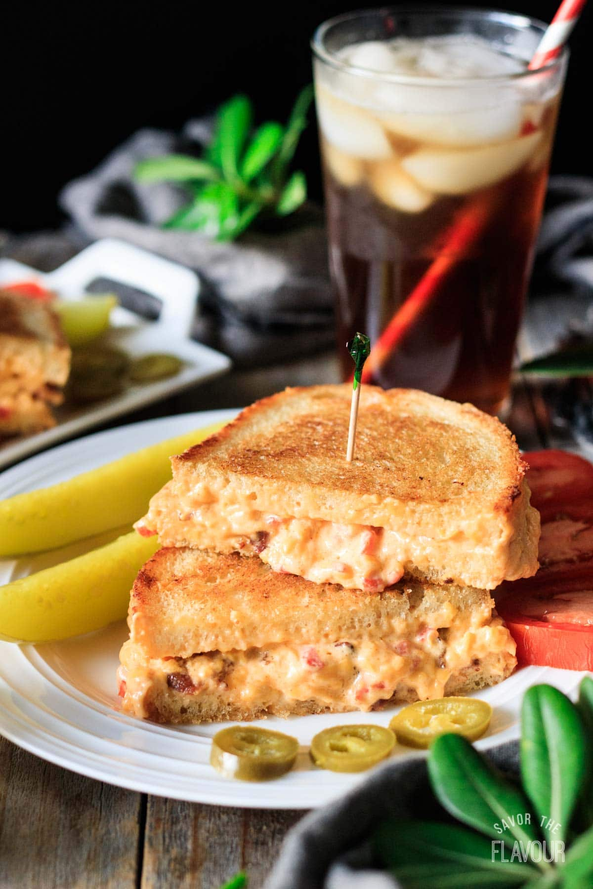 pimento cheese sandwich with pickles and sweet tea