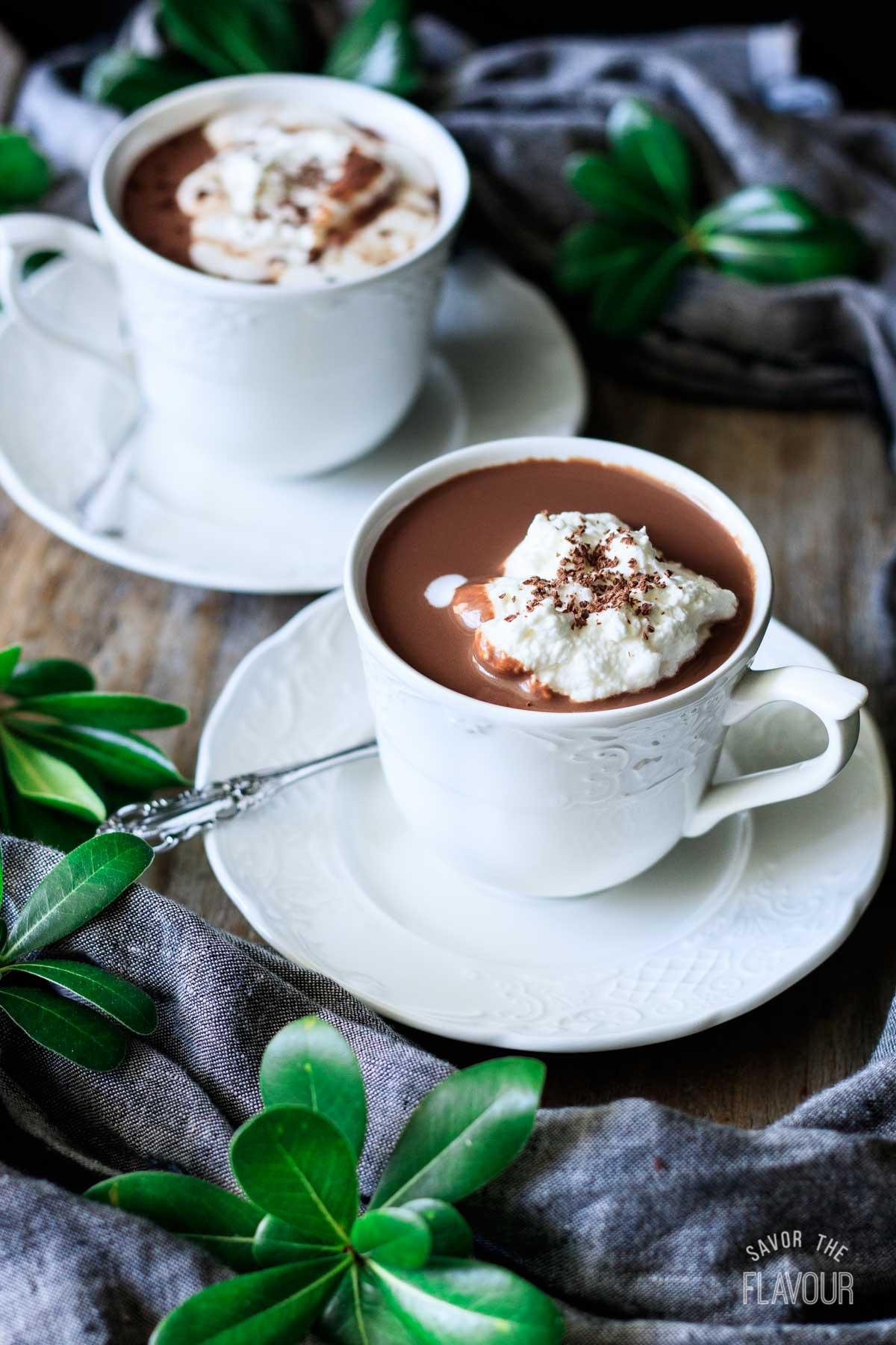two cups of French hot chocolate