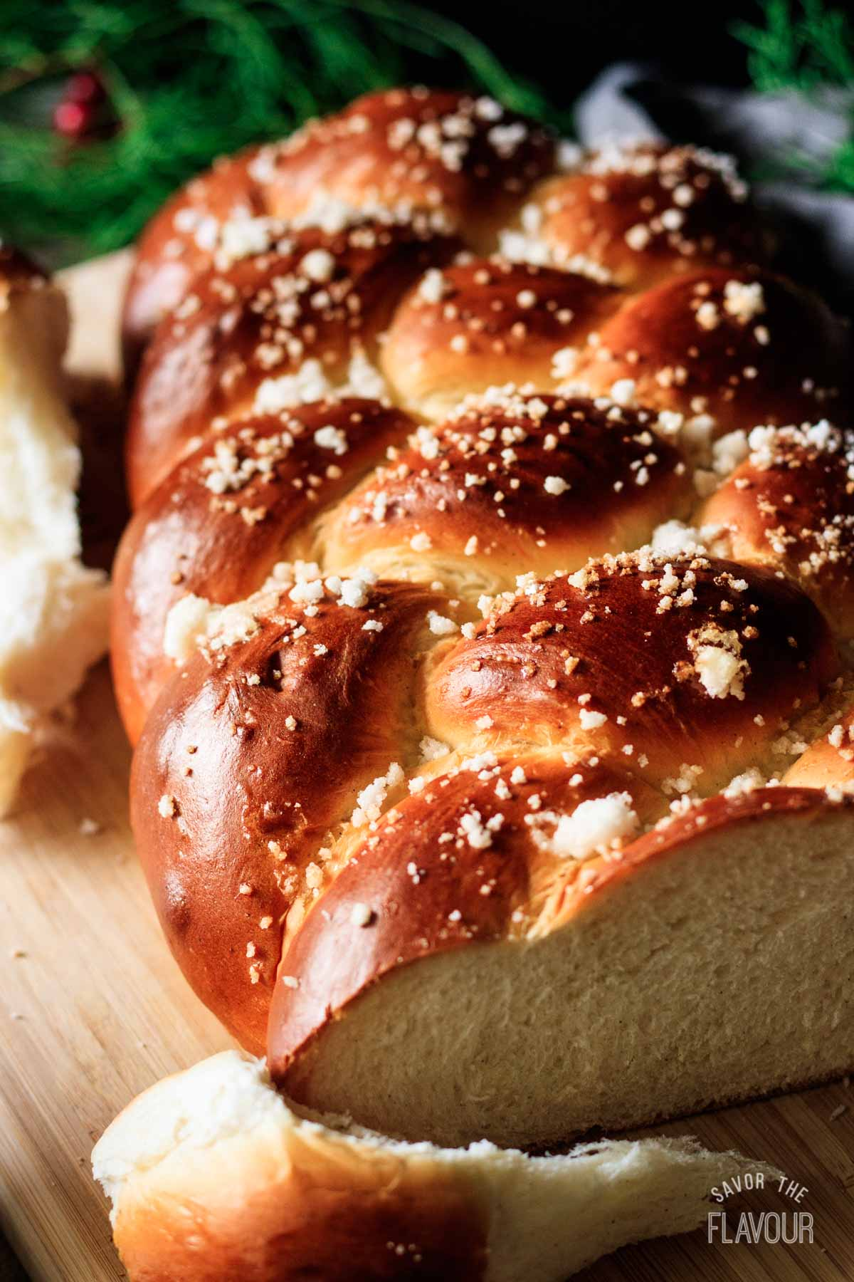 closeup of a baked pulla bread