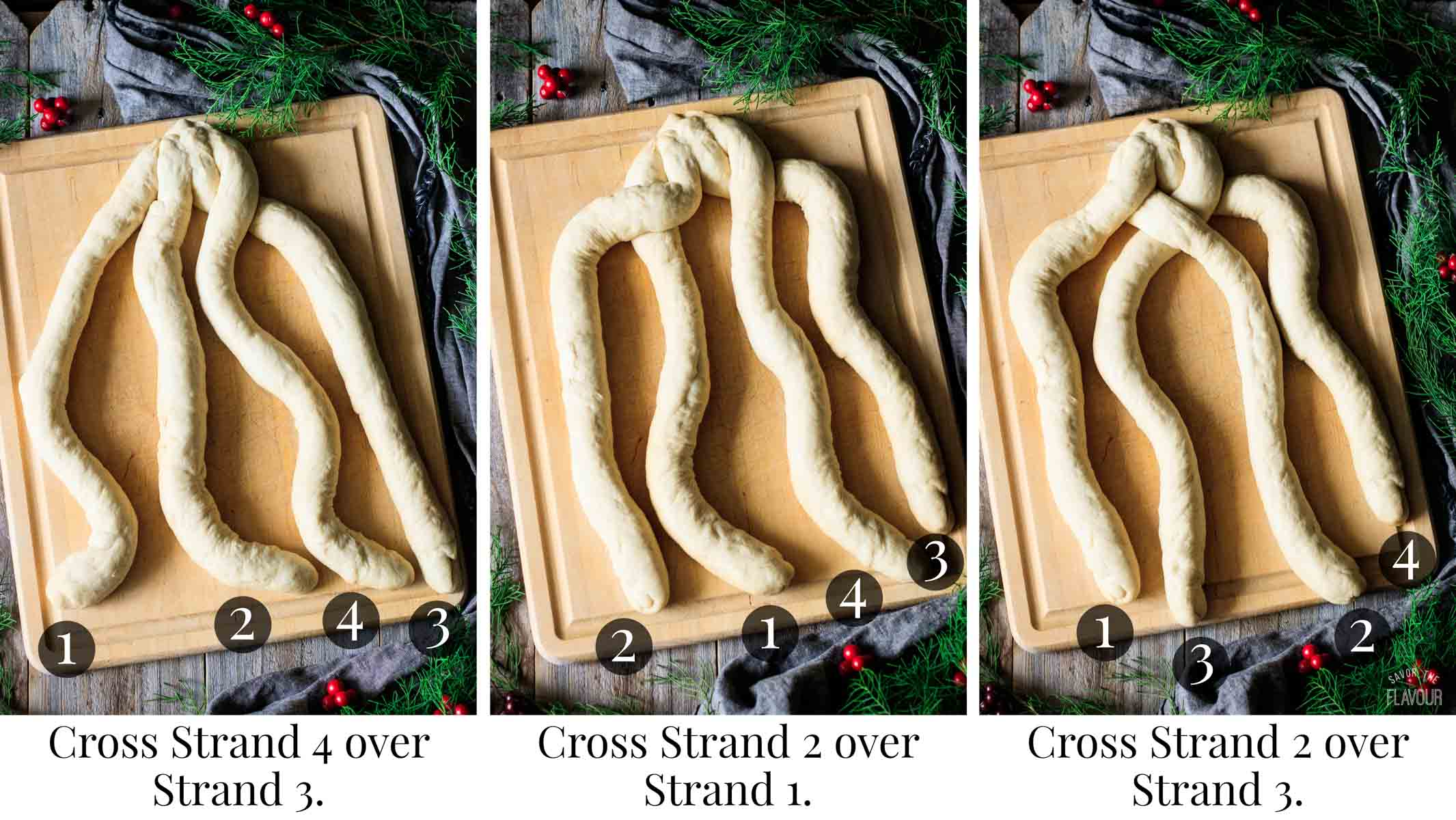 three steps for braiding a four-strand braid