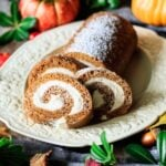 slices of pumpkin roll on a platter