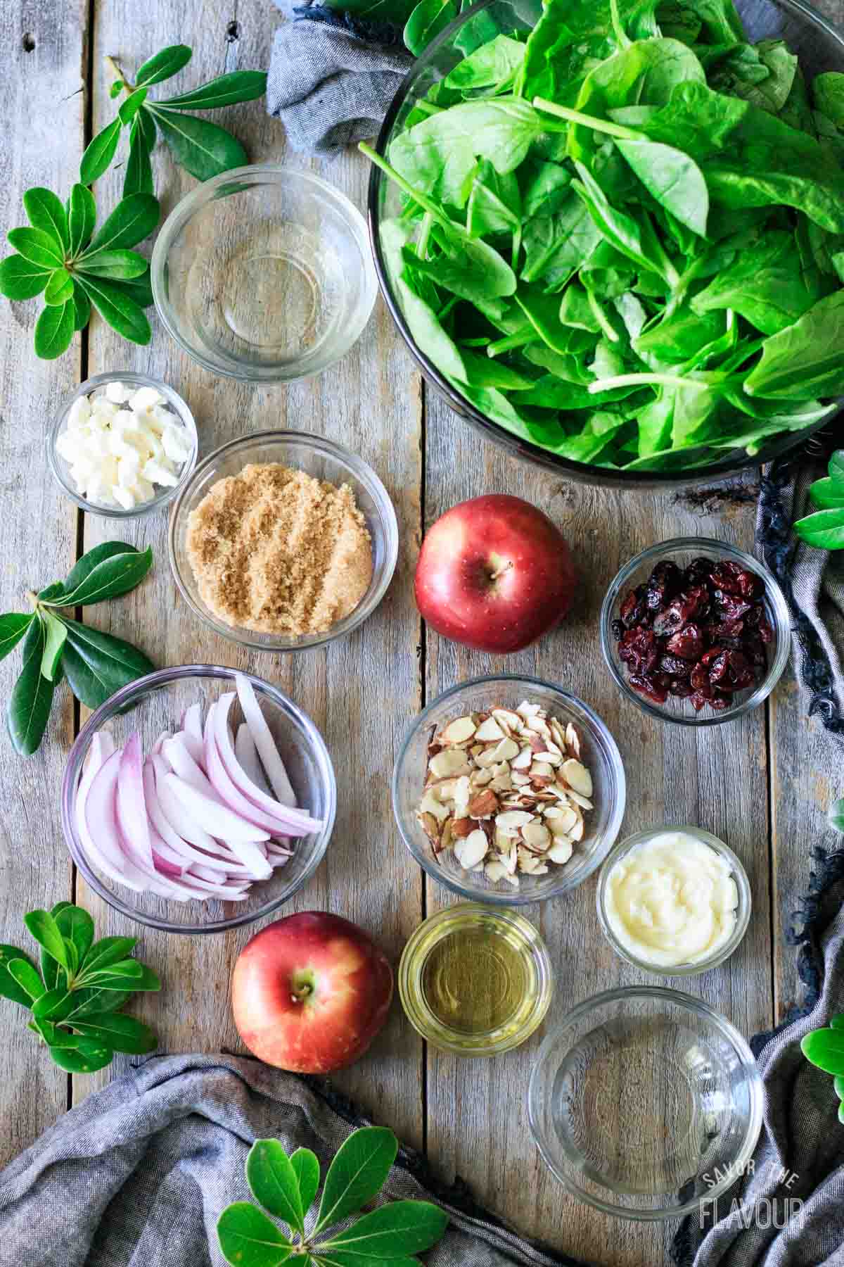 ingredients for spinach apple salad
