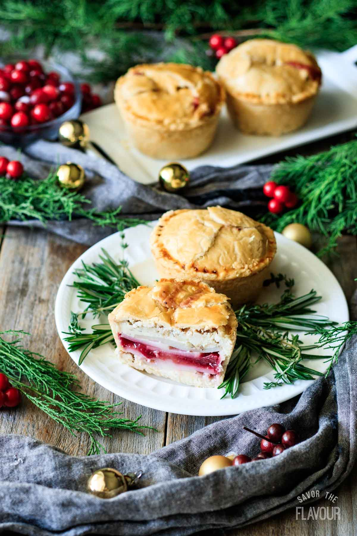 Leftover Turkey Cranberry Mini Pies | Savor the Flavour