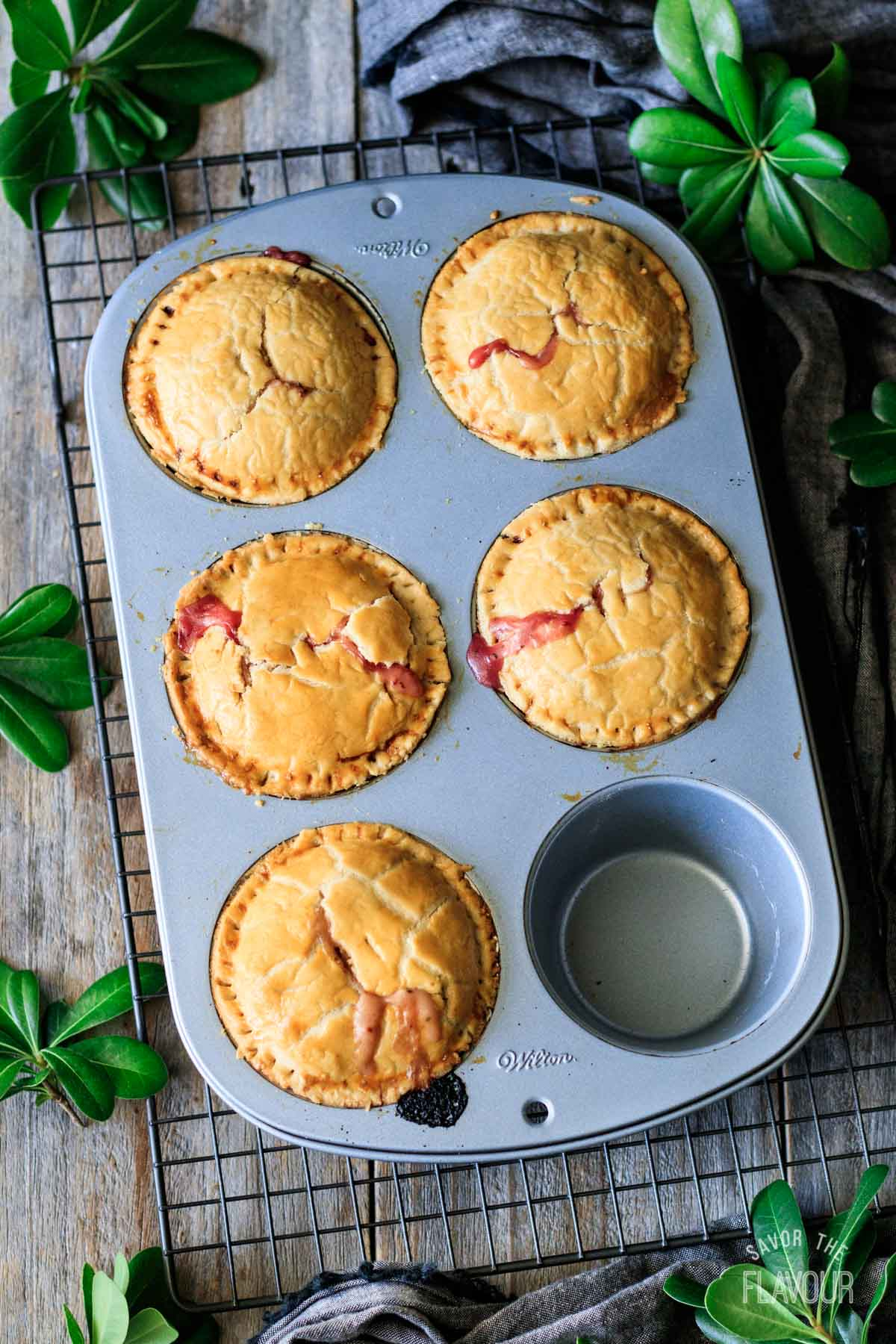 baked turkey cranberry pies in the muffin tin