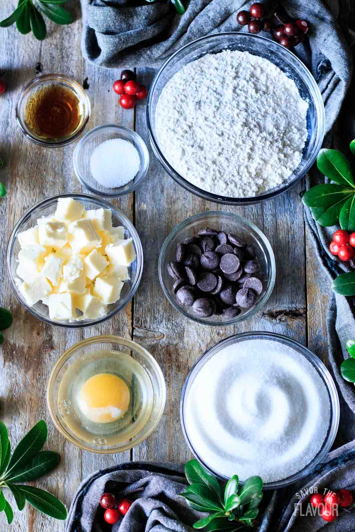 ingredients for chocolate peppermint cookie dough