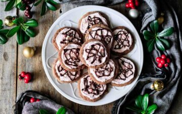 plate of chocolate peppermint cookies
