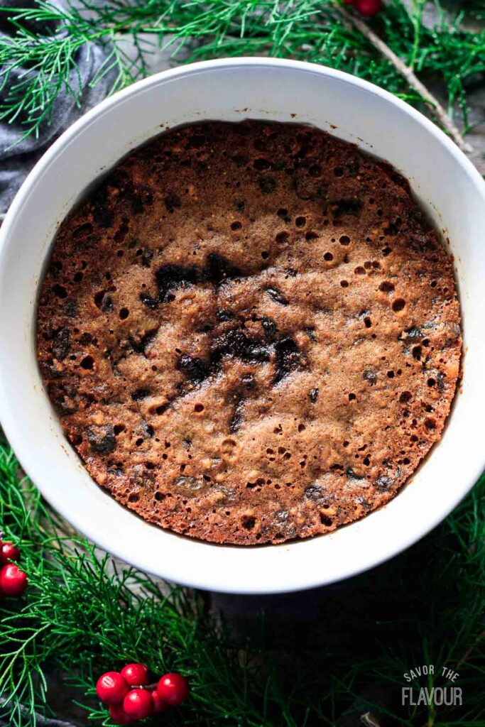 top view of a figgy pudding