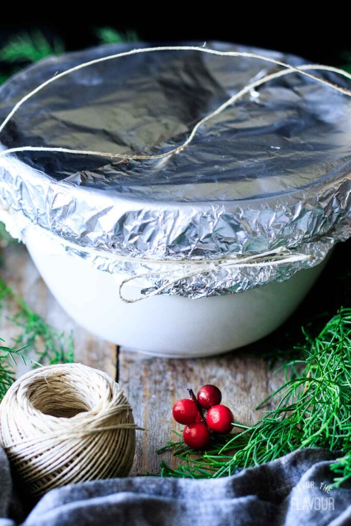 wrapping a figgy pudding for steaming