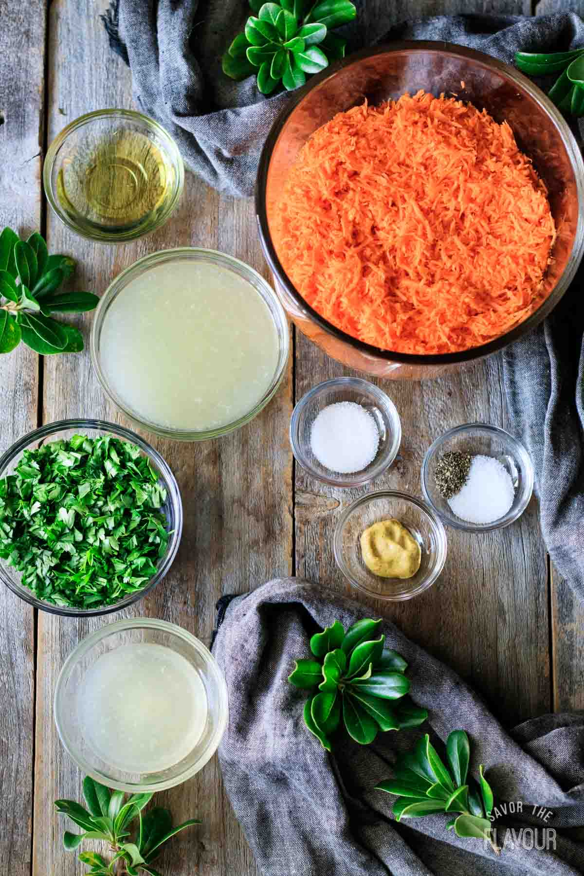 ingredients for French carrot salad