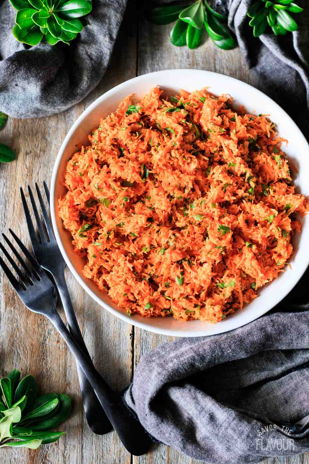 top view of a bowl of French carrot salad