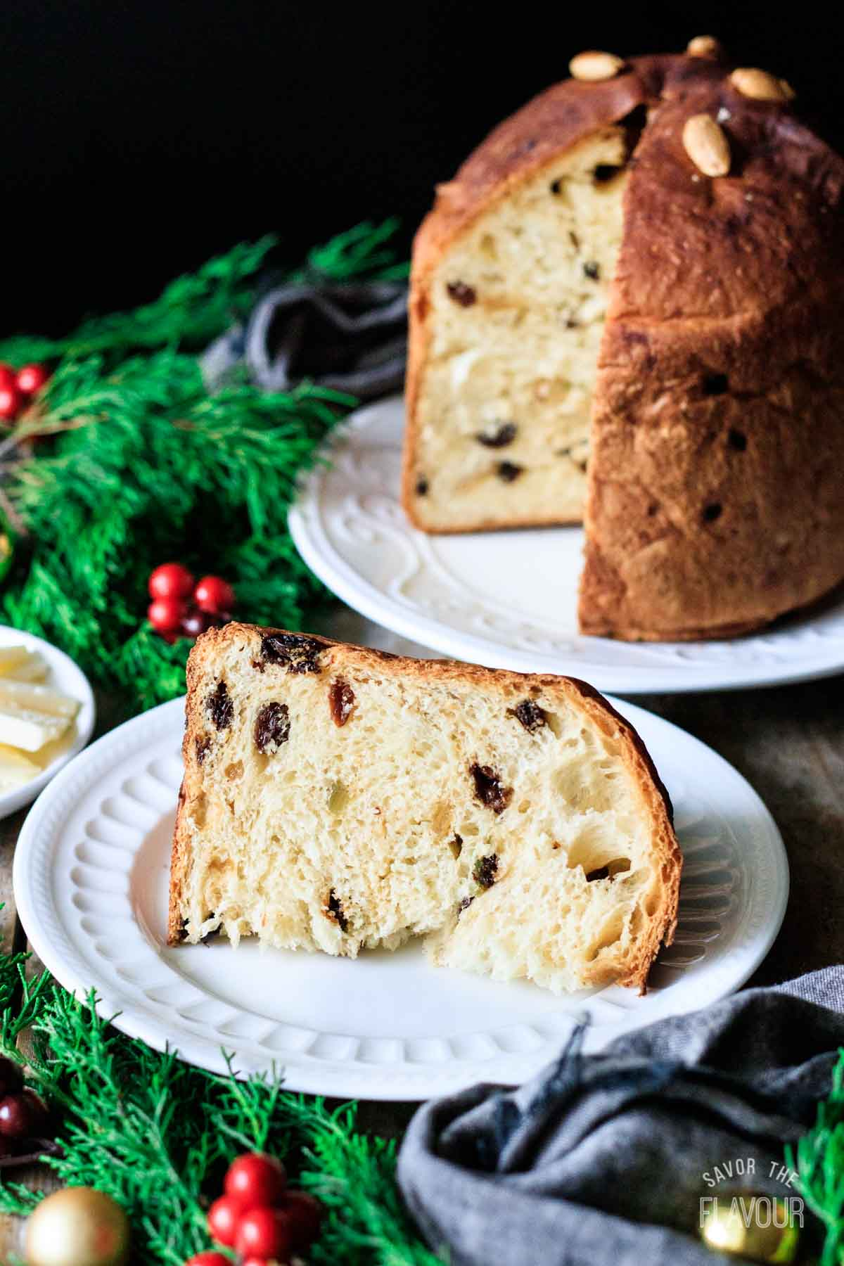 slice of panettone on a plate