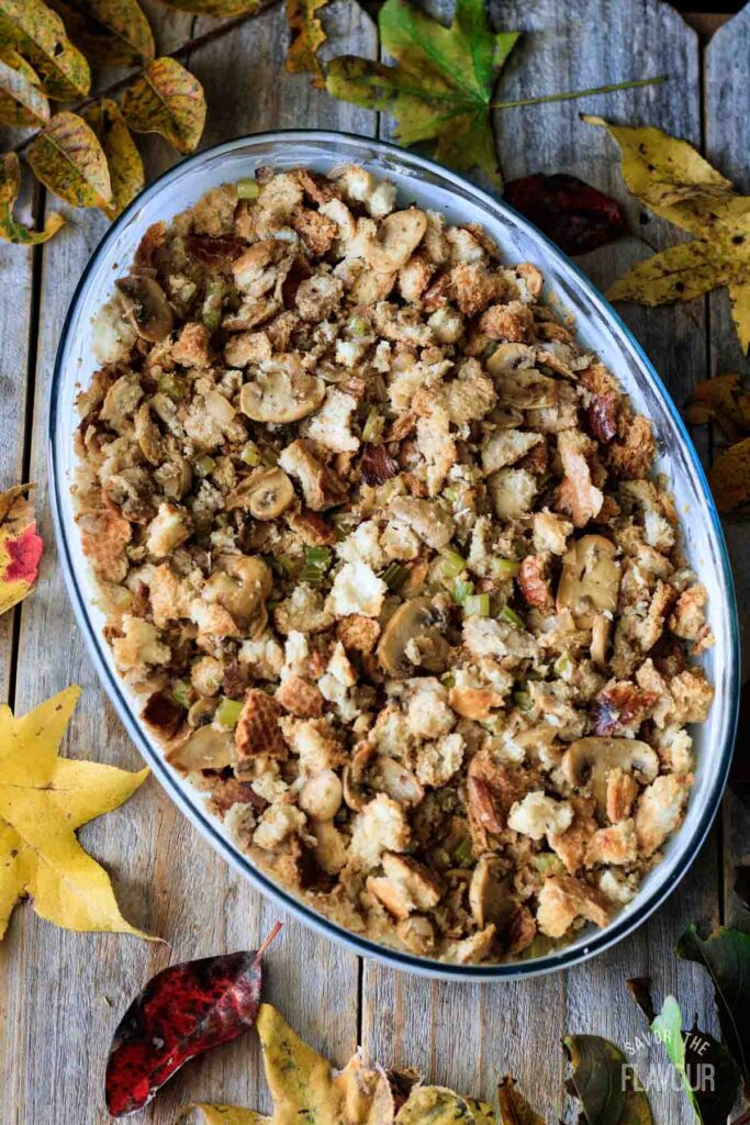 turkey stuffing in a glass casserole dish