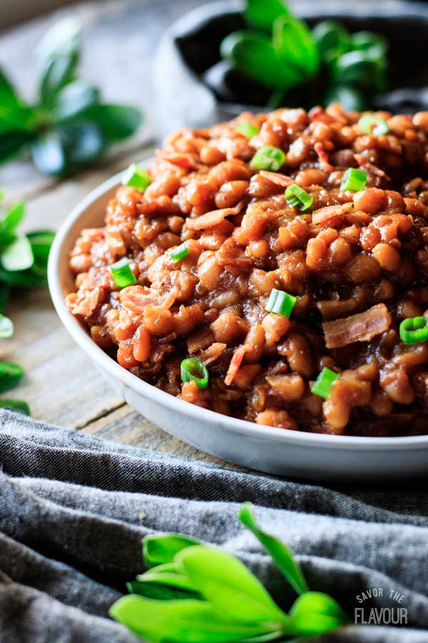 closeup of a bowl of baked beans