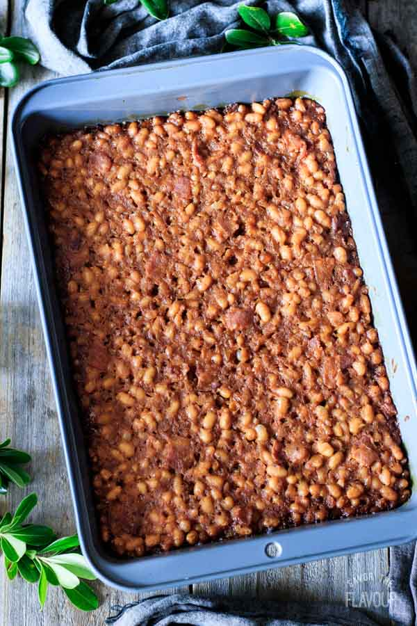 pan of oven baked beans