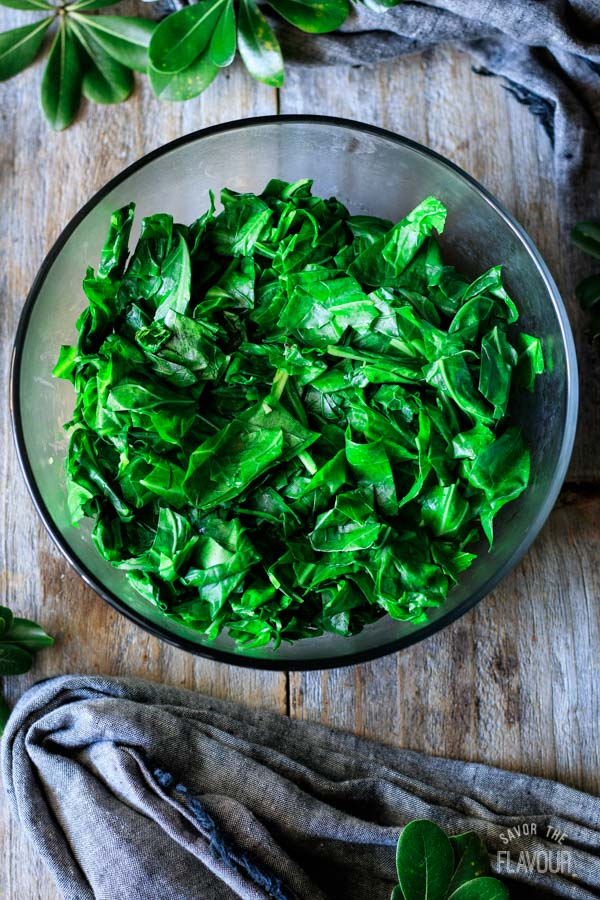 wilted collard greens in a bowl