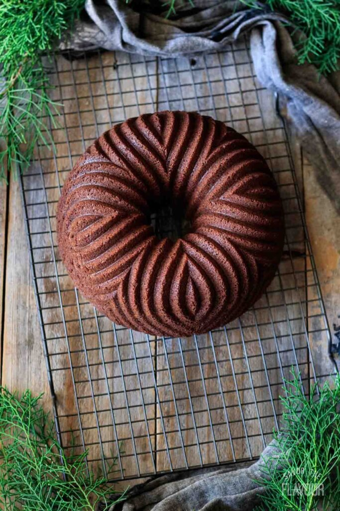 gingerbread bundt cake on a wire rack