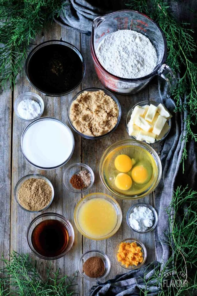 ingredients for gingerbread bundt cake
