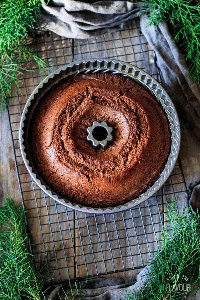 baked gingerbread bundt cake in the pan
