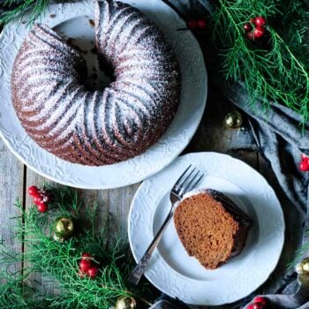 slice of gingerbread bundt cake on a plate