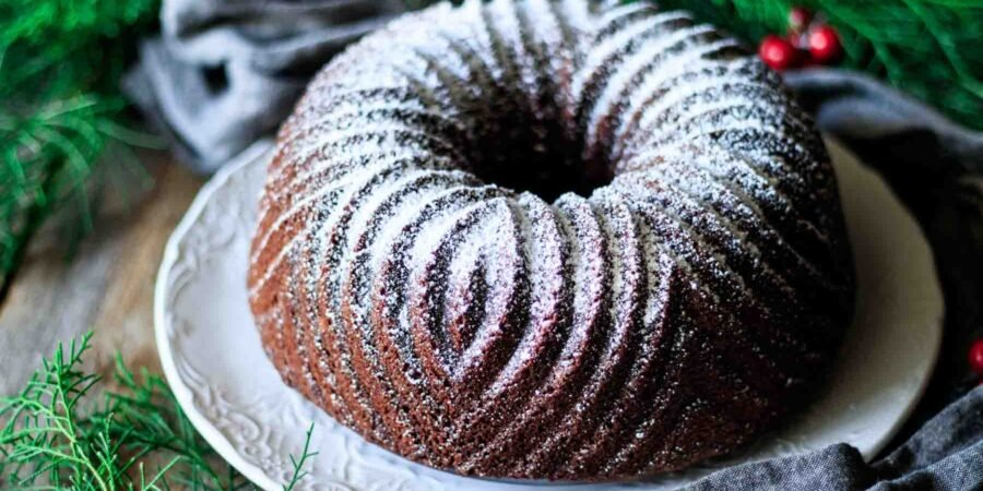 gingerbread bundt cake on a white plate
