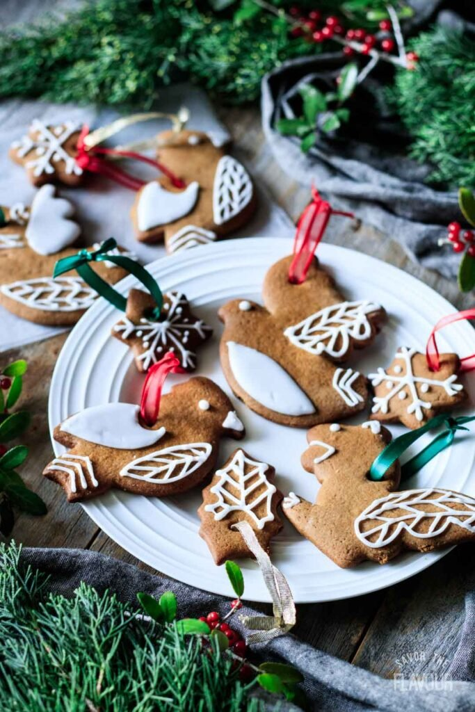 gingerbread cookie ornaments on a plate