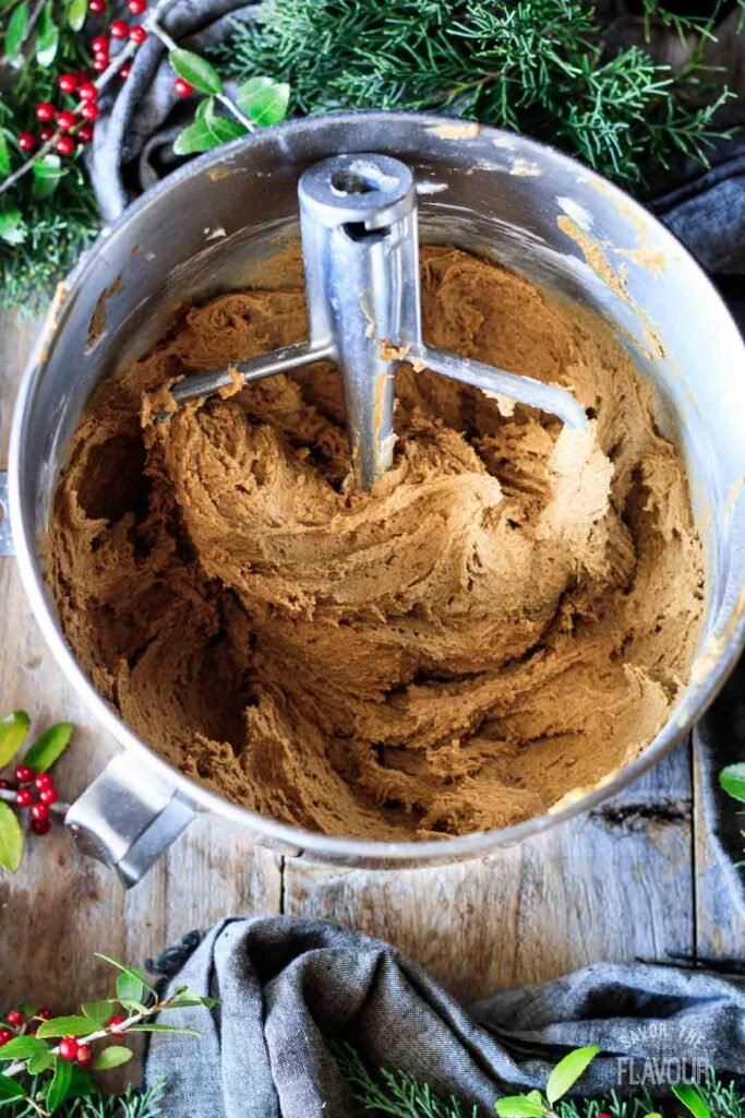 bowl of gingerbread cookie dough