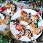 plate of gingerbread cookie ornaments
