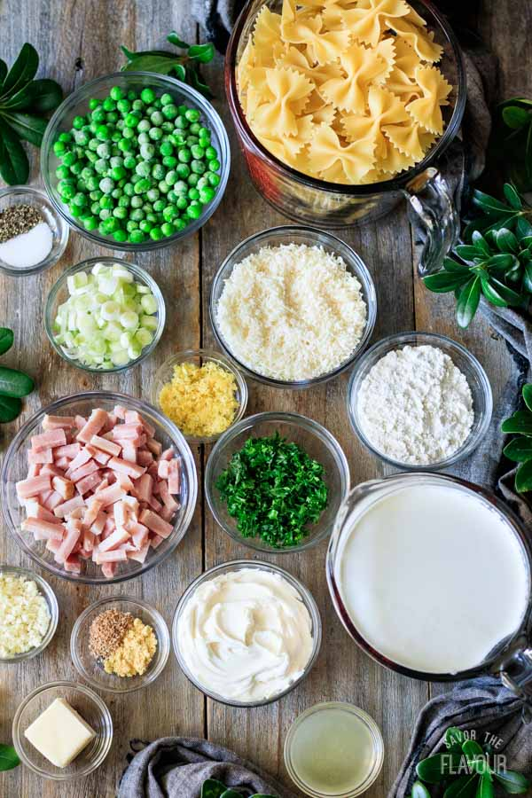 ingredients for bow tie pasta with ham and peas
