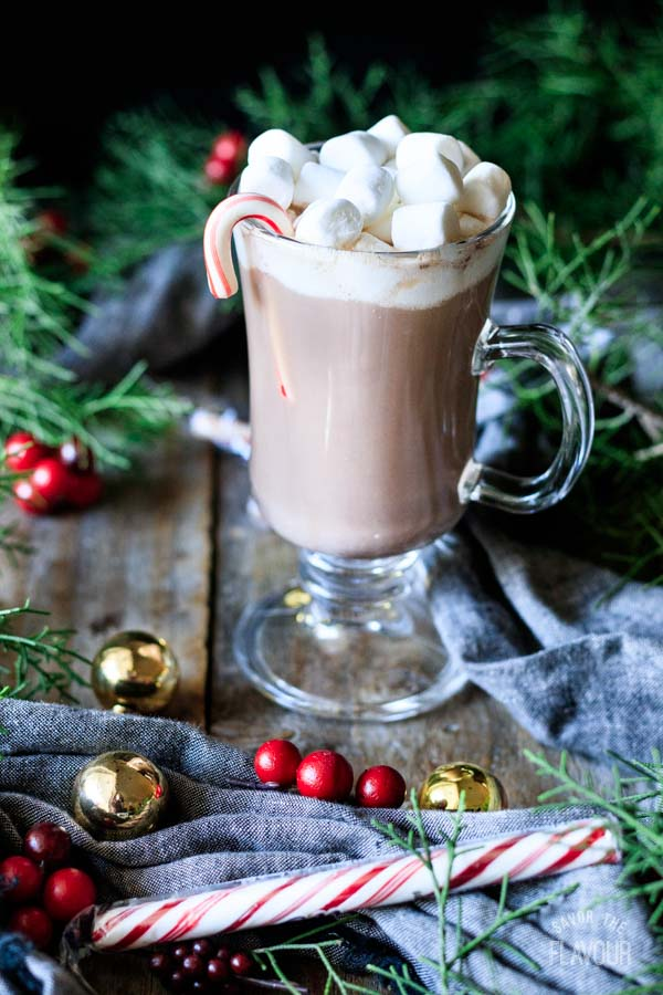 a cup of hot chocolate with marshmallows and a candy cane