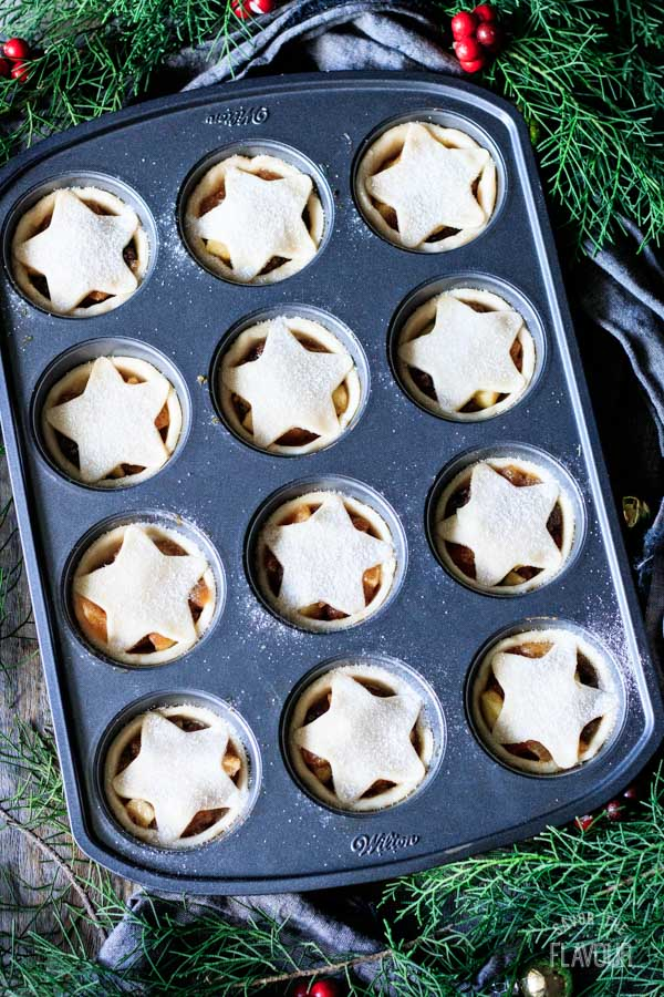 unbaked mincemeat tarts in a muffin pan