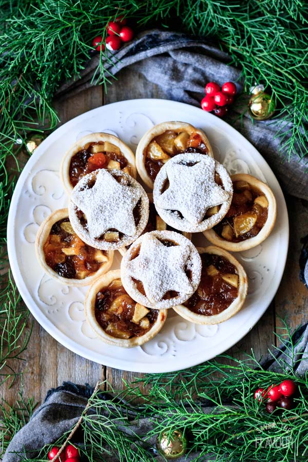 mincemeat tarts stacked up on a plate