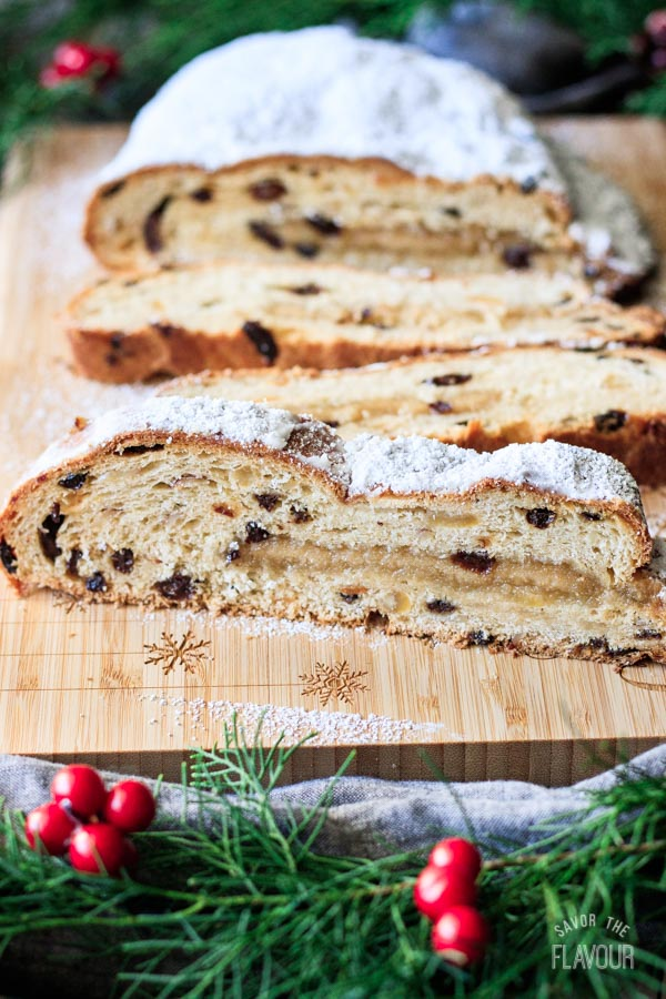 slices of German stollen with the loaf