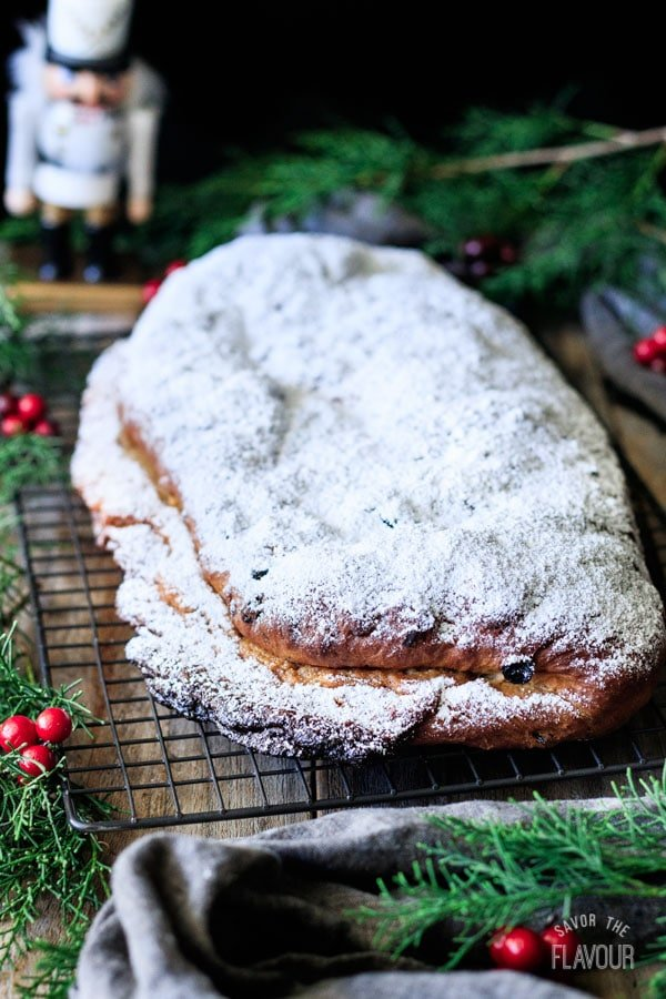 side view of a loaf of German stollen