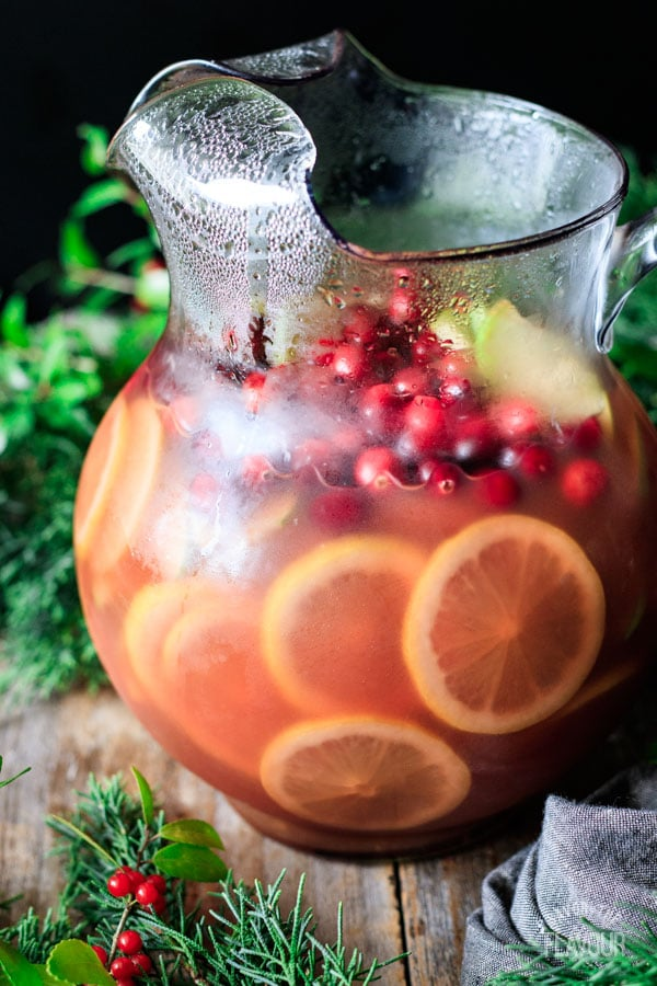 pitcher of non alcoholic winter sangria