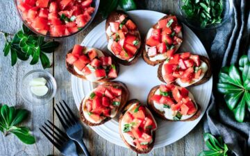 plate of Caprese bruschetta with garlic and basil