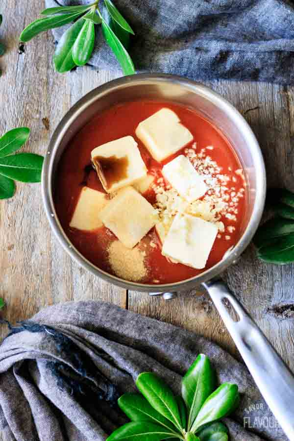 hot sauce, butter, and other ingredients in a saucepan