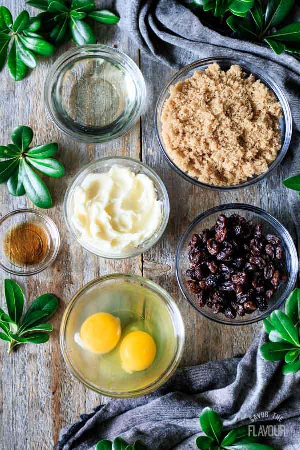 ingredients for butter tart filling