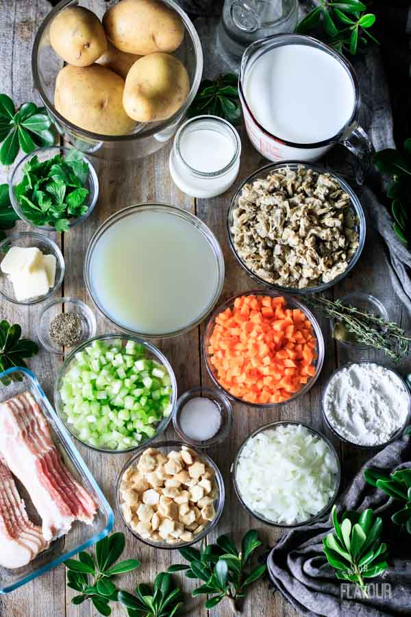 ingredients for New England clam chowder