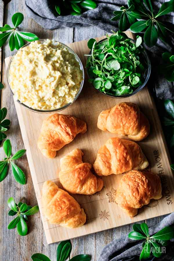mini croissants with egg salad and watercress