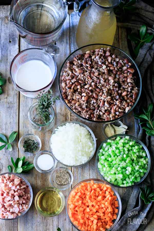 ingredients for ham and bean soup