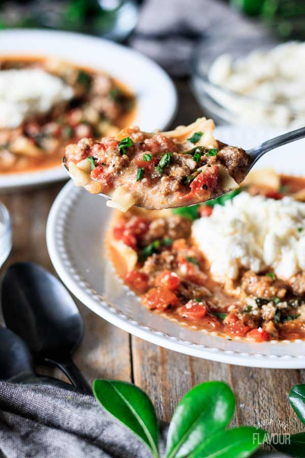 large spoonful of lasagna soup