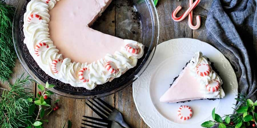 slice of peppermint pie with the pie