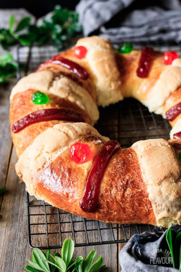 baked Rosca de Reyes on a cooling rack
